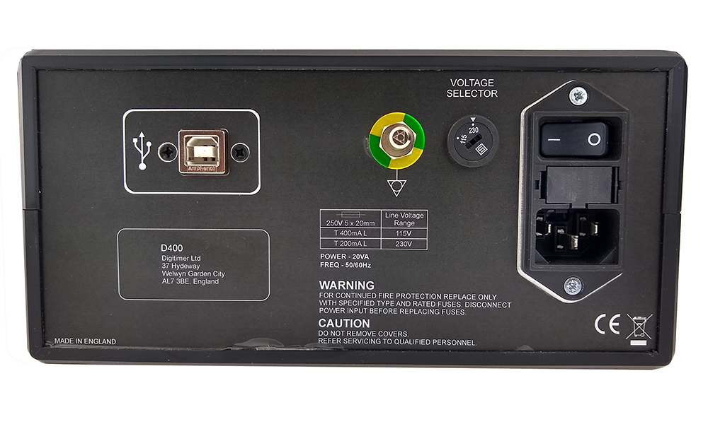D400 Multi-channel 50/60Hz Mains Noise Eliminator Rear Panel