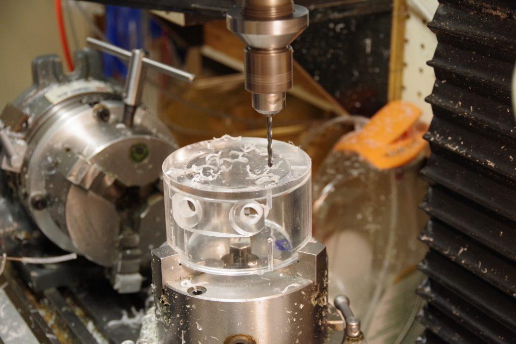 Brain slice chamber being drilled